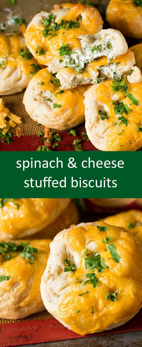 Flaky, store-bought biscuits give a quick start to these spinach & cream cheese stuffed biscuits. Perfect with a bowl of soup! #ad #annieshomegrown #bunnysbakeoff