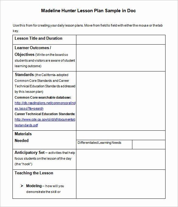 25 Madeline Hunter Lesson Plan Template in 2020 | Madeline ...