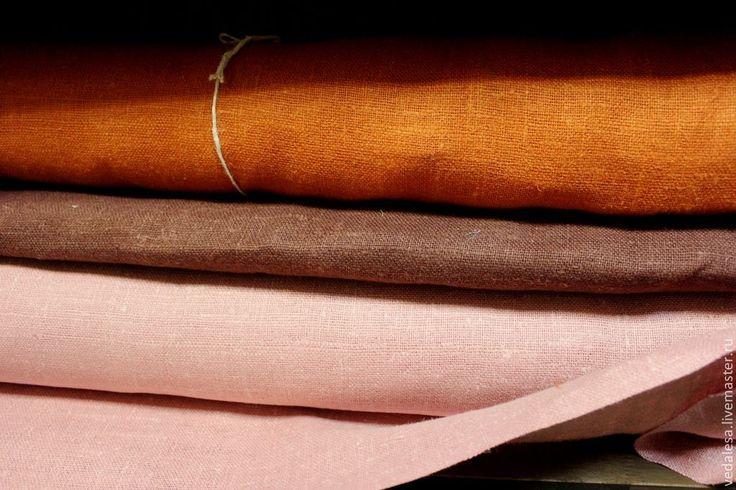 Рогожка декоративная, льняная - рыжий,лён,лён натуральный,лён 100%,льняная ткань