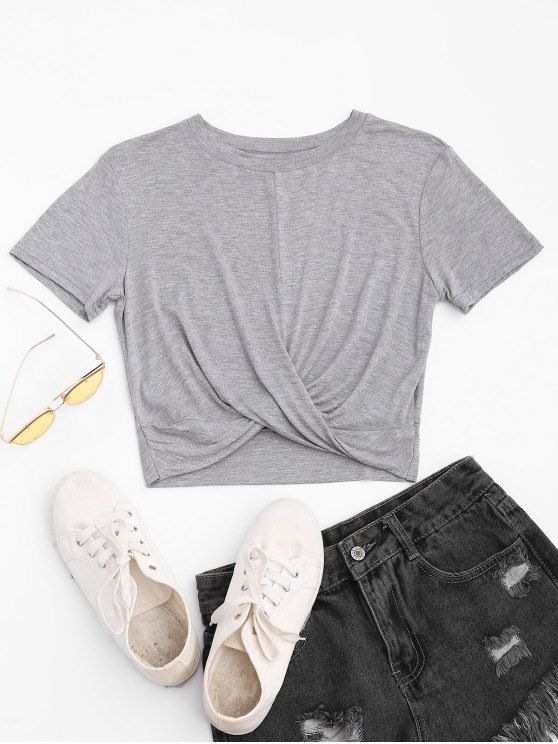 Twist Cropped T-shirt - LIGHT GRAY M