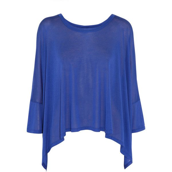 ENZA COSTA Draped jersey T-shirt ($65) ❤ liked on Polyvore featuring tops, t-shirts, shirts, blusas, blouses, royal blue, oversized shirt, royal blue shirt, oversized tee and jersey shirts