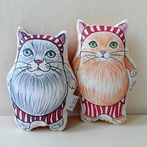 Cat  Plush Pillow Set of Two cat soft sculpture by ShebboDesign gift for crazy cat lady , gift for kids