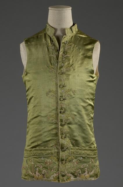 Gentleman's waistcoat, c.1790, satin green silk, embroidered with silk polychrome chinoiserie motifs