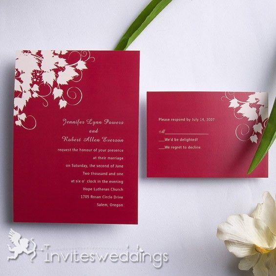 Pale Maple Leaves Wedding Invitation IWI085 : Wedding Invitations Online,  InvitesWeddings.com