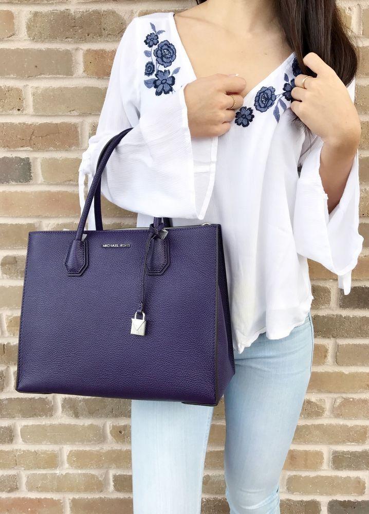 8a464a84fda0a NWT Michael Kors Mercer Studio Large Convertible Tote Iris Purple Satchel  Bag  MichaelKors  Satchel