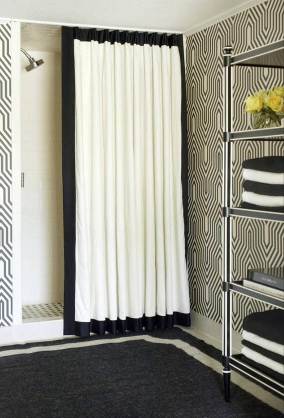 Black Trim Shower Curtain Trimmed Contrast Banding Custom Curtains