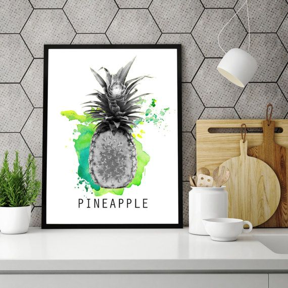 Pineapple poster, Kitchen print, Pineapple print, Minimal design, Kitchen decoration, Home minimal art, PRINTABLE poster, Fresh fruit poster
