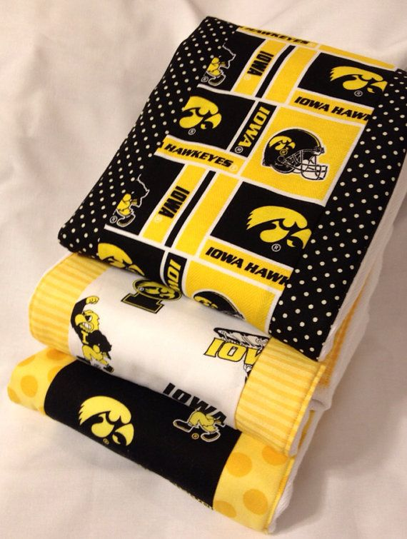 Iowa Hawkeyes Burp Rag 3pack Cloth Diaper Set by