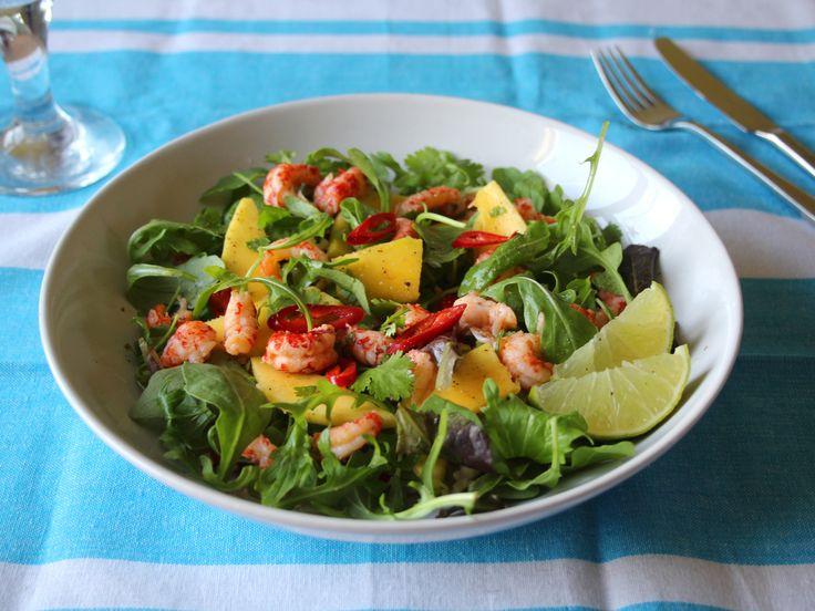 Healthy salad recipe. Crayfish and mango salad
