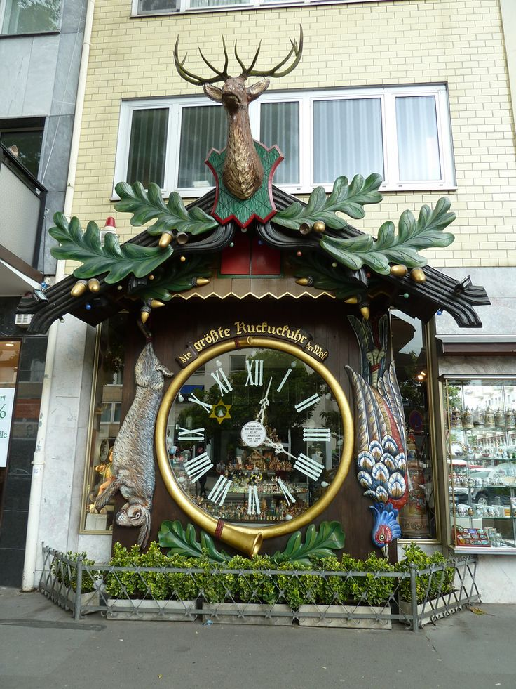The worlds largest cuckoo clock, Wiesbaden, Germany and it is indeed pretty big: about a storey high.