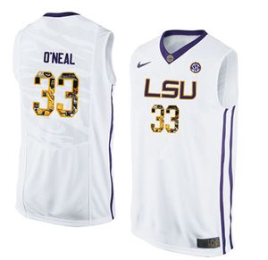 LSU Tigers 33 Shaquille O'Neal White With Portrait Print College Basketball Jersey2