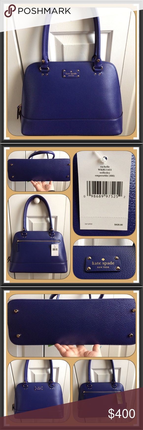"""NWT Kate Spade Wellesley Rachelle in Emperor Blue Brand NWT beautiful Emperor Blue Kate Spade large Wellesley Rachelle Satchel. No larger available through Kate Spade.  The color is absolutely gorgeous!!  You can take it anywhere and everywhere - day to night!!! No trades! Details: • Leather  • Gold Tone Hardware  • Feet on bottom of bag • One exterior zip pocket  • Double Zipper Closure • Two interior slip pockets • One interior zip pocket • Blue Kate Spade Signature lining • 8"""" Handle Drop…"""