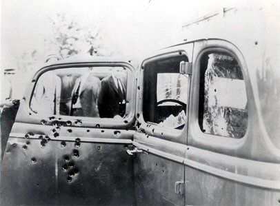 Bonnie and Clyde Ambush Site | The car of Clyde Barrows after the ambush