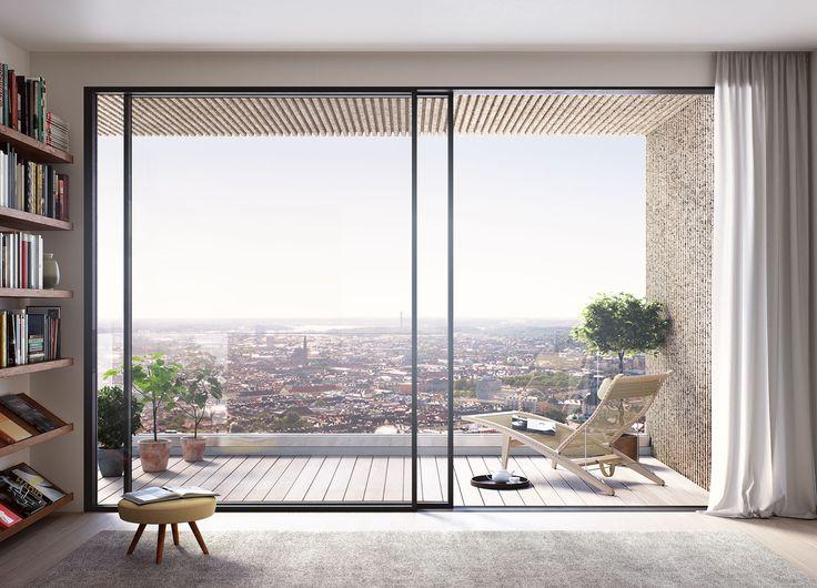 Oscar Properties  #oscarproperties view - balcony - living room - Norra Tornen - norratornen