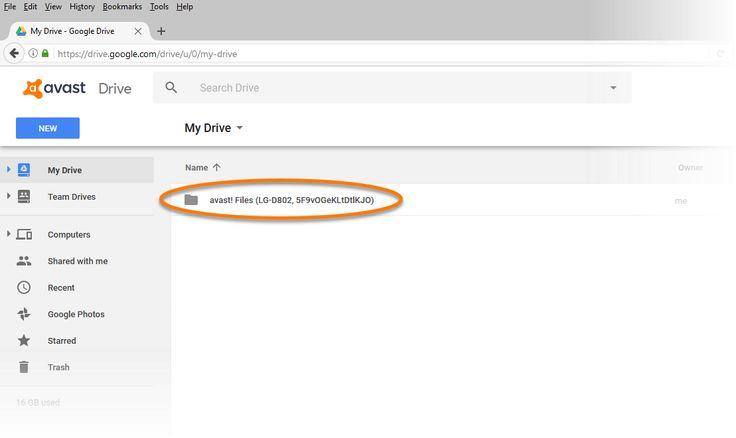 Restore data with Avast Mobile Backup app via Google Drive