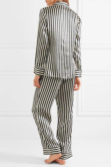Olivia von Halle - Lila Striped Silk-satin Pajama Set - Black -