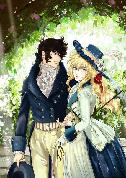 Oscar and André in Romantic era costumes.