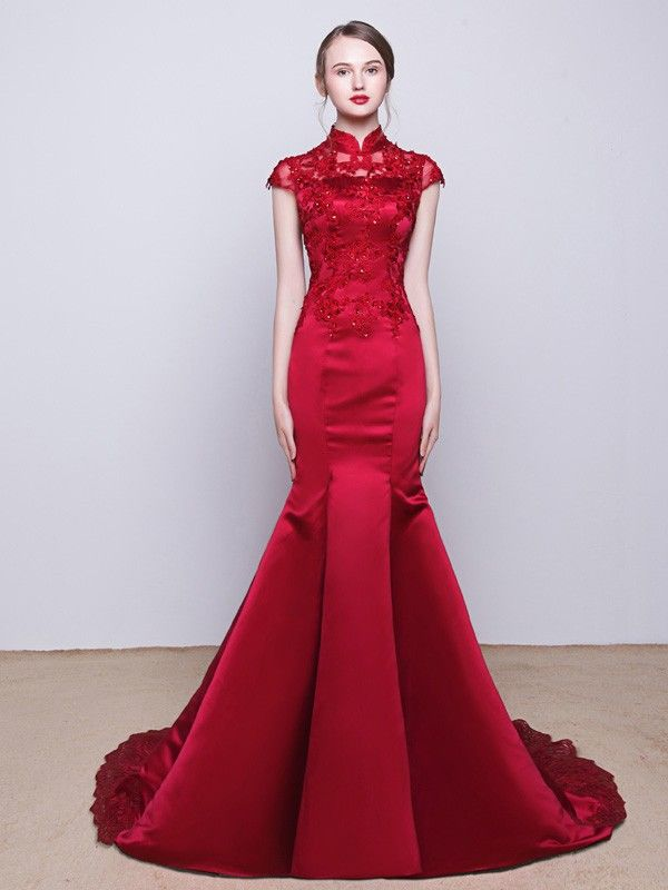 Custom Tailored Mermaid Train Qipao / Cheongsam Wedding Dress