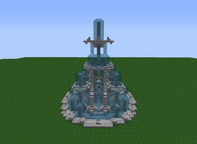 Minecraft castle fountains minecraft dragon fountain for Castle design