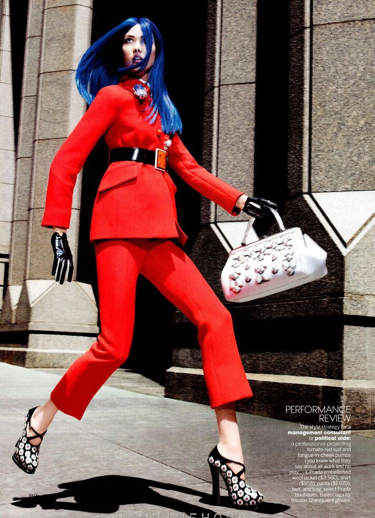 Neon Hair Career Womenin US Vogue Sep 2012 'Her Brilliant Career'  Photographer:David Sims Model:Karlie Kloss Fashion Editor:Grace Coddington Hair:GuidoPalau Make-Up:Diane Kendal
