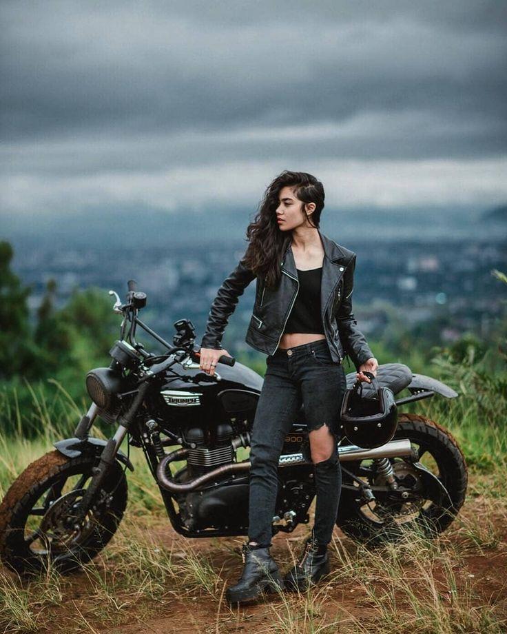 Japstyle motorbike. Biker babe leather-based jacket and denims oot wiwt dapper girls r…