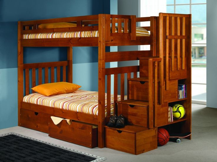 Our medium wood tone Youth Loft Bed crafted with durable pine wood, features a classic design that will make a great addition to any bedroom. This bunk bed comes in twin over twin size and features bu