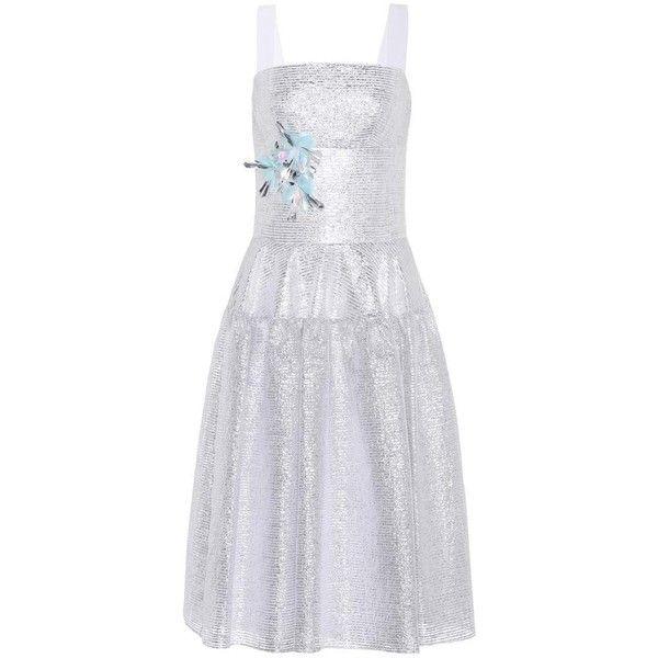 Delpozo Embellished Metallic Midi Dress ($1,895) ❤ liked on Polyvore featuring dresses, silver, embellished midi dress, metallic dresses, embellished dress, calf length dresses and embelished dress