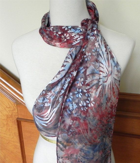 Devore satin scarf hand dyed blue red & by RosyDaysScarves on Etsy