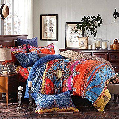 LELVA Bohemian Ethnic Patterns Bedding, Cotton Boho Duvet Cover, American Style Bedding, Queen King Size 4pcs (Flat sheet, Queen)