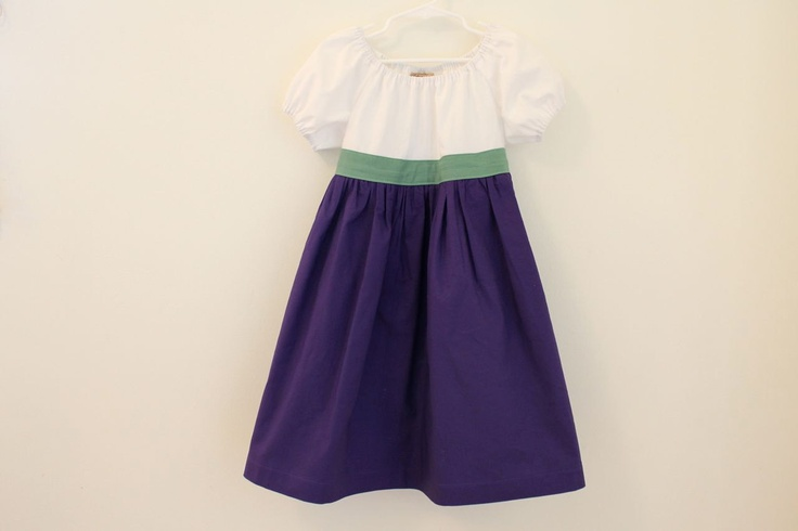 Belted Color Block Belted Peasant Dress.  Ready to Ship in Size 5T.  Purple, Green, and White Girls Dress.  Summer Fashion.. $39.00, via Etsy.