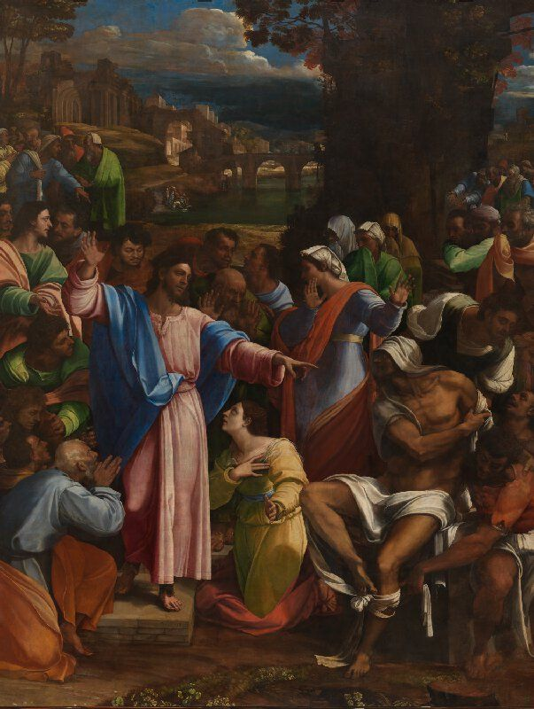 Sebastiano del Piombo (Sebastiano Luciani), c.1485-1547, Italian, The Raising of Lazarus, c.1517-19.  Oil on canvas, transferred from wood; 381 x 289.6 cm.  National Gallery, London. High Renaissance, Mannerism.