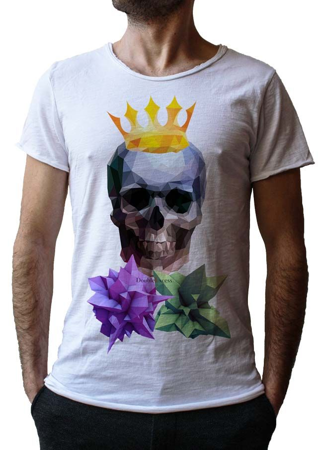 Men's T-Shirt LOW POLY SKULL - Made in Italy - 100% Cotton - SKULL COLLECTION http://www.doubleexcess.com/