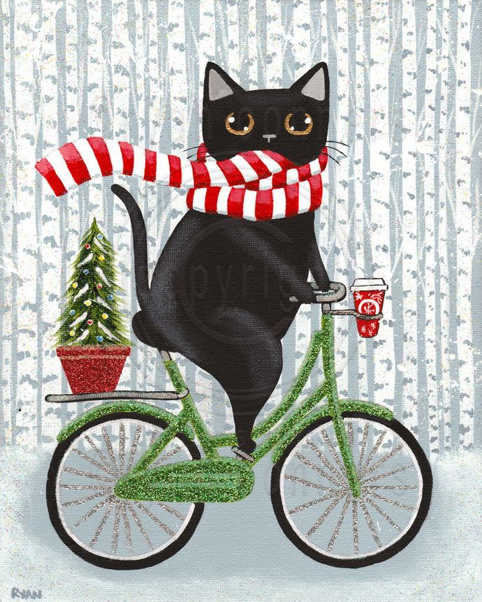 Robust Christmas Coffee Bicycle Cat Original Folk Art Painting by KilkennyCat Art, $85.00 USD