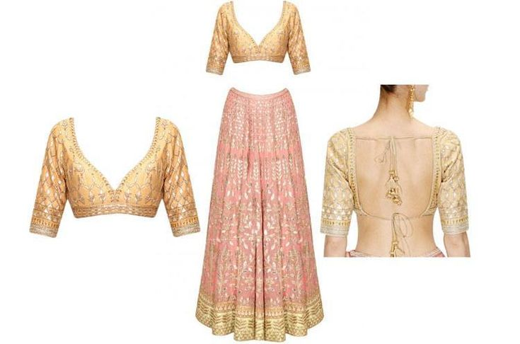 Gold Back & Front Blouse Designs