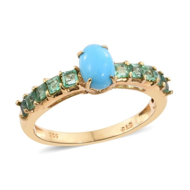 Arizona Sleeping Beauty Turquoise, Kagem Zambian Emerald 14K YG Over Sterling Si #ShopLC