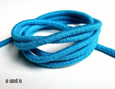 Wrapped cotton cord, turquoise, (1m) #craft #jewelrymaking #cord #rope #jewelrysupplies #craftsupplies