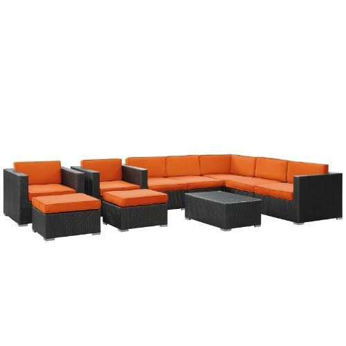East End Imports Avia Outdoor Rattan 10 Piece Set in Espresso with Orange Cushions by East End Imports. $4831.14. Surround yourself with a modern landing pad of exploration. Positioned to advance your outdoor patio, backyard, or pool area, Avia helps you bestow acceleration to your outward achievements and social celebrations.