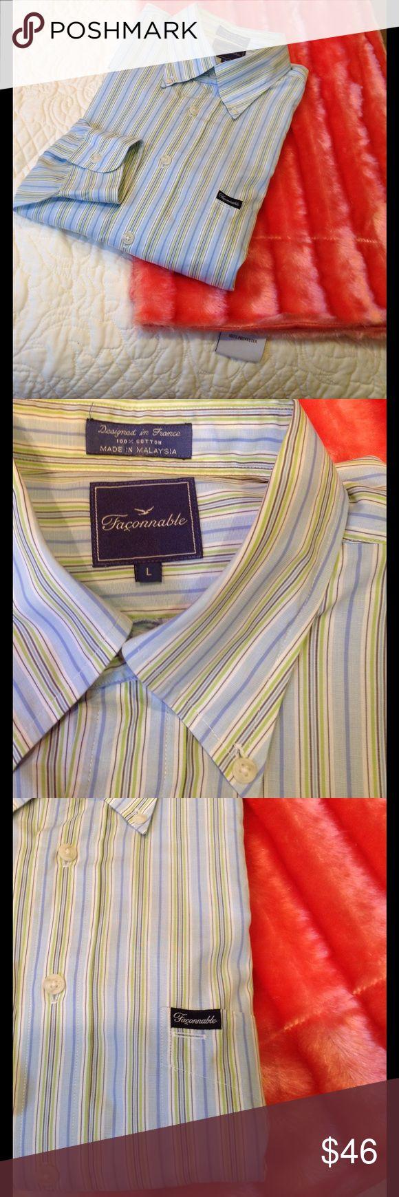 Faconnable men's long-sleeve striped shirt. Size L Faconnable men's long-sleeves blue, green, purple and white striped shirt. 100% cotton. Size L. Faconnable Shirts Dress Shirts