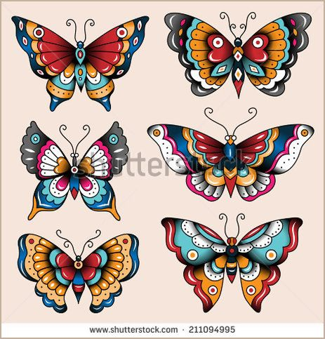 Set of old school tattoo art butterflies for design and decoration
