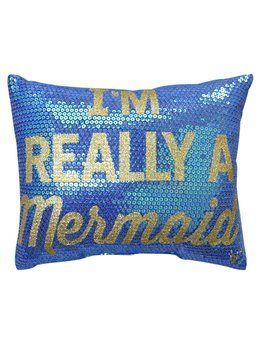 Sequin mermaid throw pillow perfect for your home away from the sea.