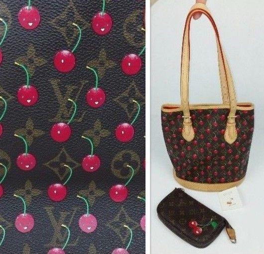 Louis Vuitton Cerises Monogram Smiling Cherry Bucket Bag Purse with Pochette #LouisVuitton #ShoulderBag