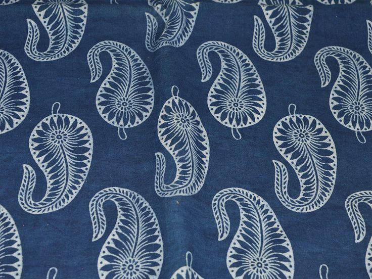 Indigo+Blue+Print+Paisley+tela+de+algodón+de+indianlacesandfabric+por+DaWanda.com