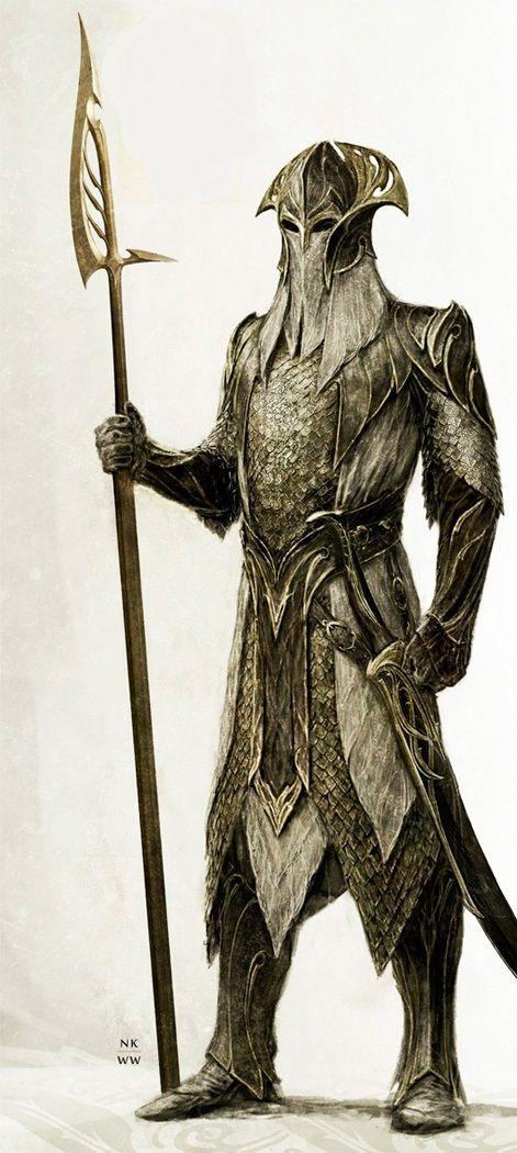∎ http://www.pinterest.com/onitek/tolkiens-world/ Mirkwood elven guard concept art