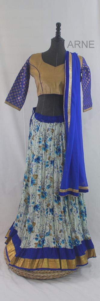 Get ready for Navratri with this Outfit, 4 days left before Navratri! Blue Gold Navratri Special!  http://www.arneus.com/lehenga/blue-gold-navratri-special