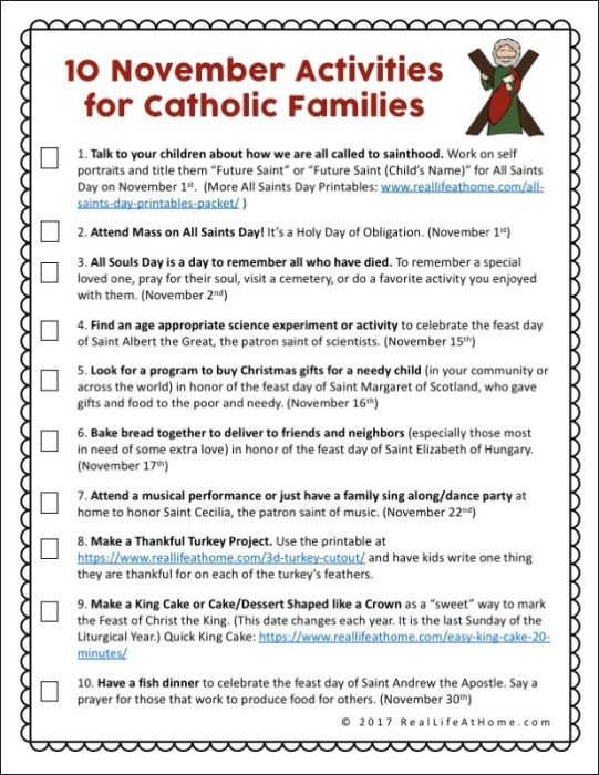 Activities for Catholic Families in November {Free Printable} – Catholic Printables
