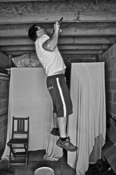10 Chin Ups, 15 Sandbag Thrusters, 20 Sandbag Cleans. Complete 5 rounds as fast as you can. Record your time. Train hard!
