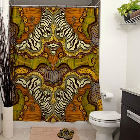 Caravan Printed Shower Curtain, Bathroom Decor, Home, Abstract, Tribal, Aminal Prints, Safari, African, Zebra, Tortoise, Nature, Wild, Art