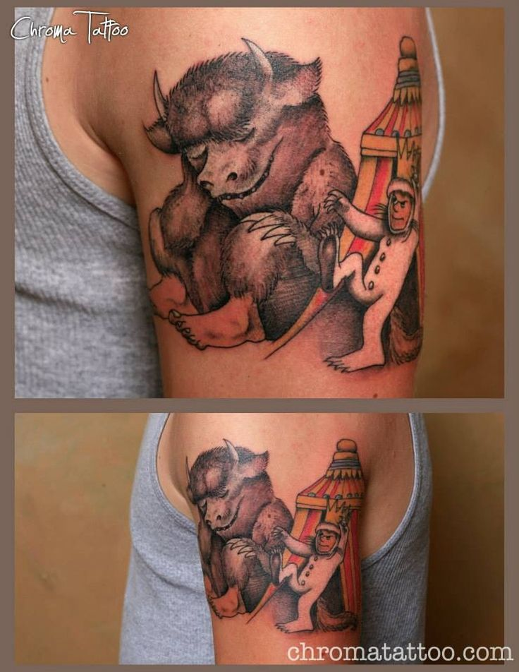 Where The Wild Things Are - 1 session tattoo. By Tom Salwoski of Chroma Tattoo, Michigan.  #Tattoo #WhereTheWildThingsAre