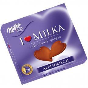 """Milka """"I Love Milka"""" Hauchzarte Herzen Alpenmilch Geschenkverpackung mit Herzen aus Alpenmilch-Schokolade"""
