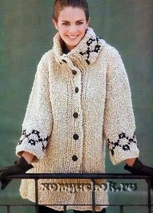 Как связать пальто спицыми самой